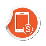 Phone with cost menu icon. Vector illustration
