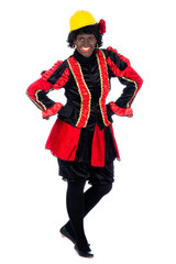 Zwarte Piet acting as a builder