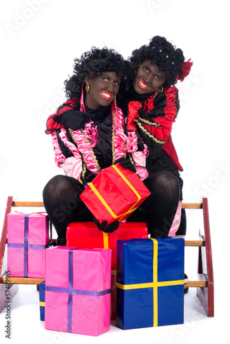 Portrait of Zwarte Piet with presents