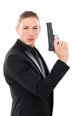 Handsome man with pistol