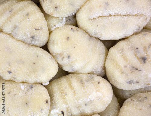 A very close view of potato gnocchi