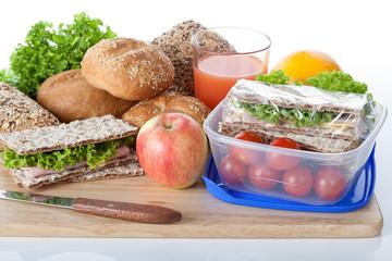 Fresh crunchy bread and lunch box