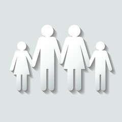 Family Girl/Dad/Mom/Boy Paper Silhouette