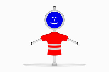 Figur mit Warnweste in rot