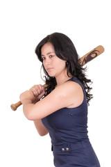 hispanic business woman with baseball bat in hands