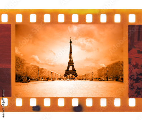 vintage old 35mm frame photo film with Eiffel Tower in Paris, Fr