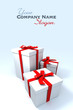 three Big white gift boxes with red ribbons