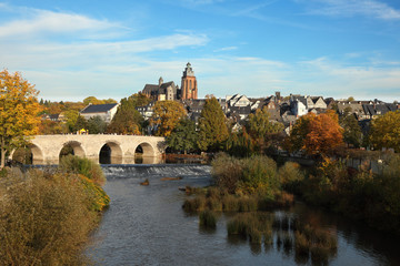 Lahn river in the old town Wetzlar, Germany