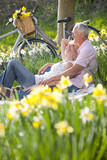 Smiling senior couple relaxing on blanket in sunny daffodil field