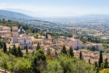 view of medieval Assisi town, Italy