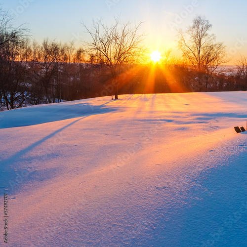canvas print picture Winter sunset