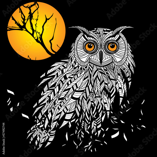 Owl bird head as halloween symbol for mascot or emblem design