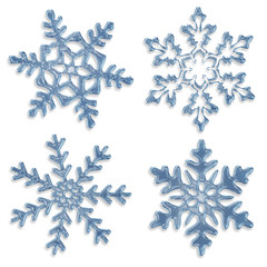 set of blue icy snowflakes