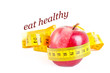 Dieting concept apple with measuring tape