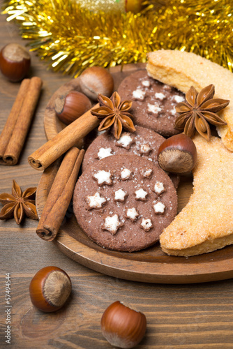 Christmas cookies, spices and nuts