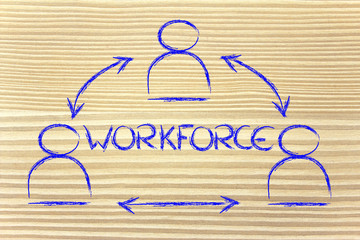 workforce, design with group of collaborative co-workers