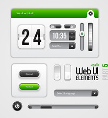 Web UI Elements Design Gray Green: Part 5