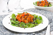 salad with arugula, black lentils and vegetable stew, horizontal