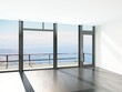 Empty room interior with floor to ceiling windows and scenic vie