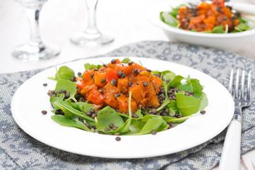 salad with arugula, black lentils and vegetable stew, horizontal