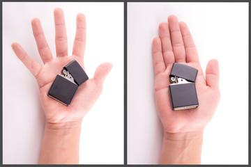 Hand Holding a Lighter set