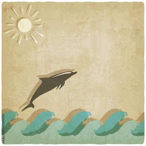 Vintage background with dolphin
