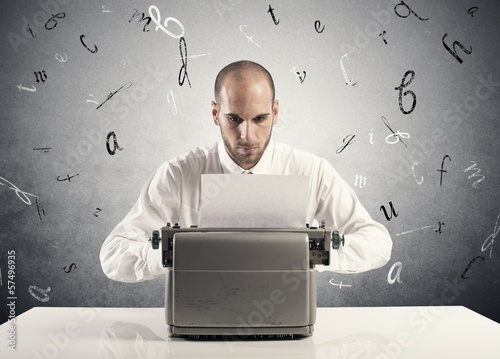 Businessman with typewriter