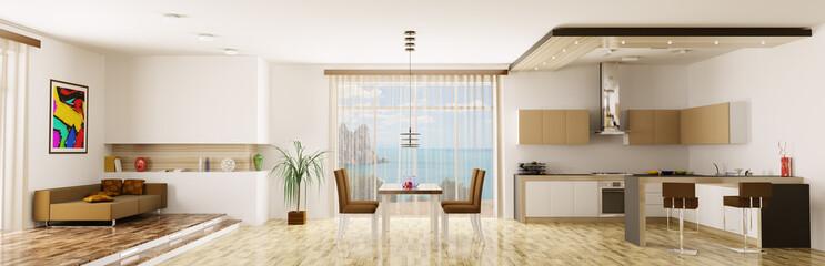Interior of apartment panorama