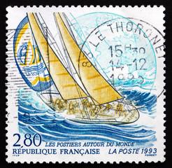 Postage stamp France 1993 Yacht La Poste, Whitbread Trans-global