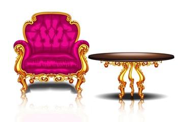 Красивое кресло с деревянный стол с золотой отделкой