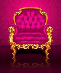 Ярко розовый стул на фоне красивых обоев