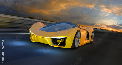 A yellow Future Fantasy Car on a Racing Track