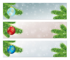 christmas banners with decorated balls