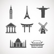 set of the world landmark icons