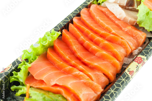 Closeup of fresh sliced sashimi isolated on white background