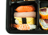 Closeup of sushi in a Japanese Lunch box (Bento) Sushi Bento