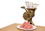 Vintage Mincer With Minced Meat And Bank Notes