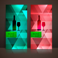 wine list design with a bottle and a wineglass signs