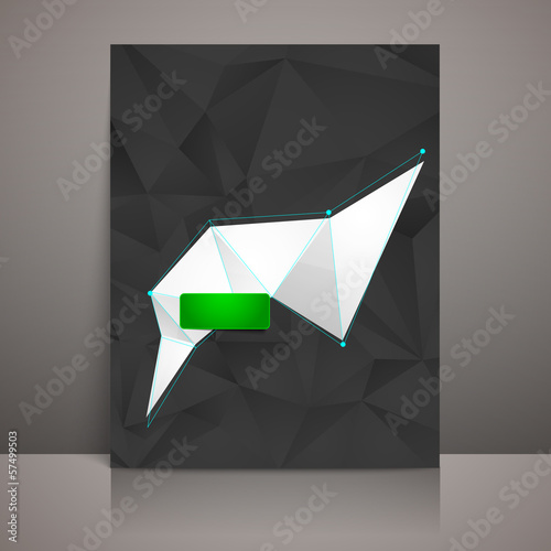 business brochure with black triangles and a white banner