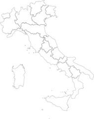 Italia vettoriale con regioni