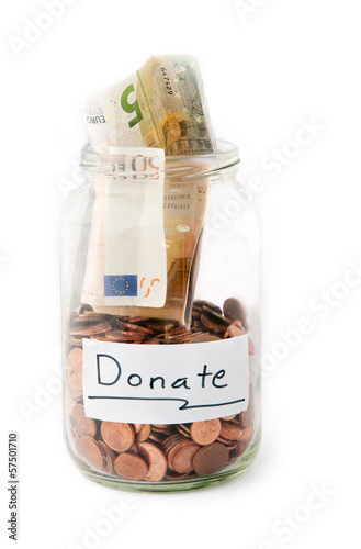 Jar with money from Donation