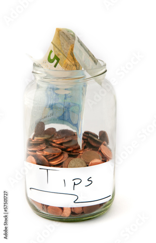 Jar with money for tips