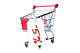 Shopping cart with 5 percent discount isolated on white