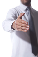 Businessman reach out a hand to deal or agreement