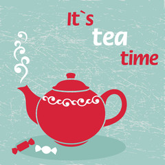 Vintage background with teapot. Vector illustration