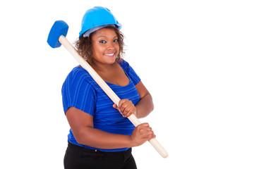 African American woman holding a demolition hammer  - Black peop