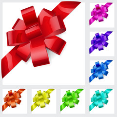 Multicolored bows of ribbon