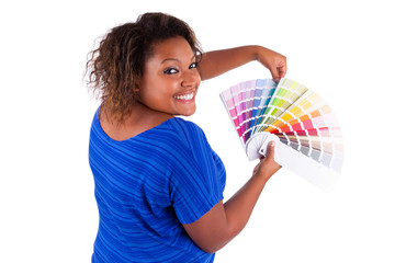 African American woman holding a color palette - Black people