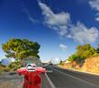 Mountain asphalt road. scooter