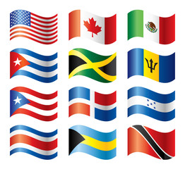 Wavy flags set - North & Central America